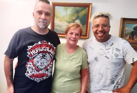 De izq. a da.: Cristóbal González, Verónica Lorca y Camaleón Landáez. Jueves 4 de marzo de 2021. Ñuñoa, Santiago de Chile.